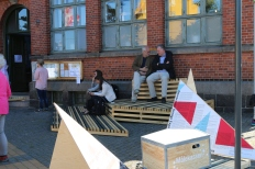 A part of the outdoor scenography was an exhibition of this year's codesign projects.